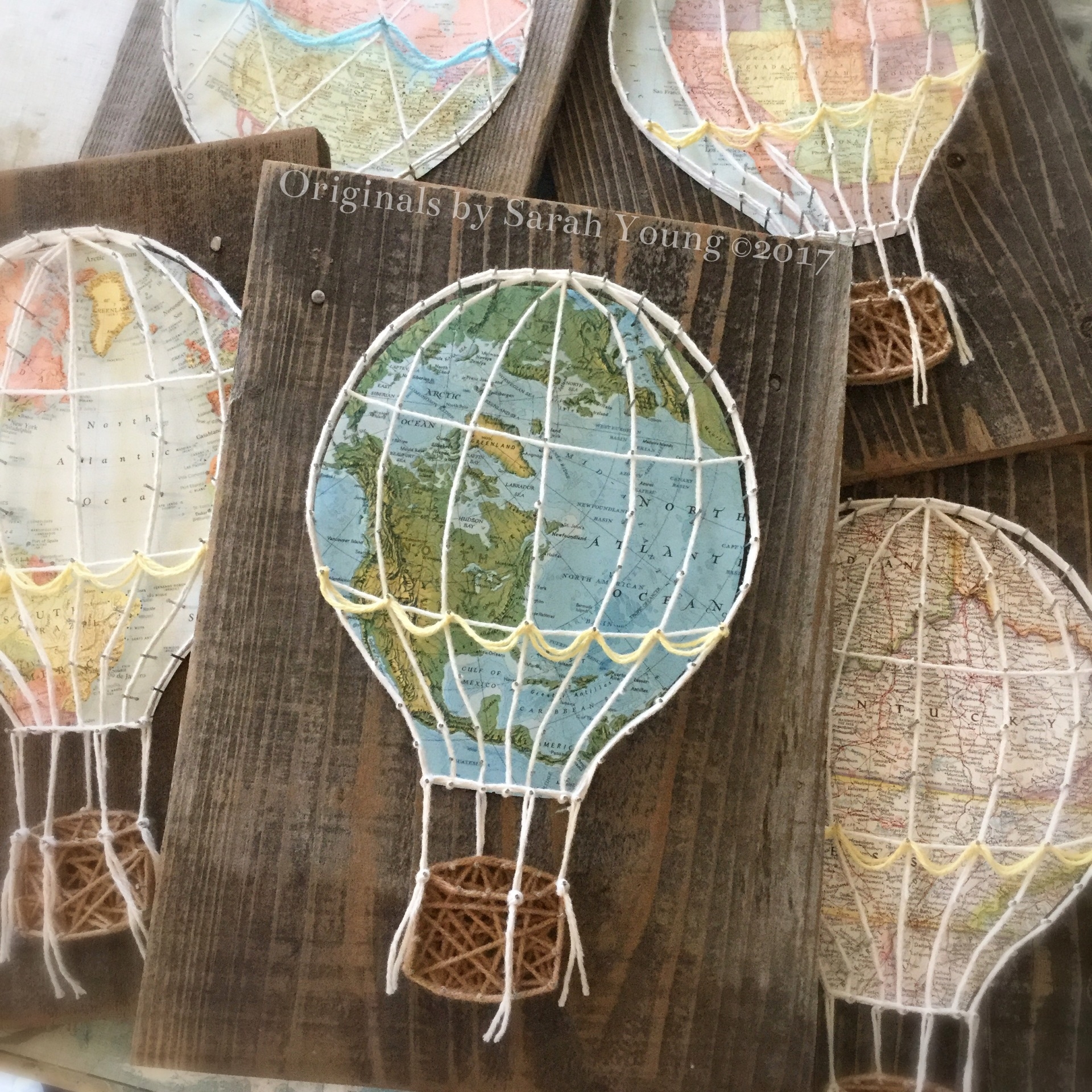 String Art Map Hot Air Balloon