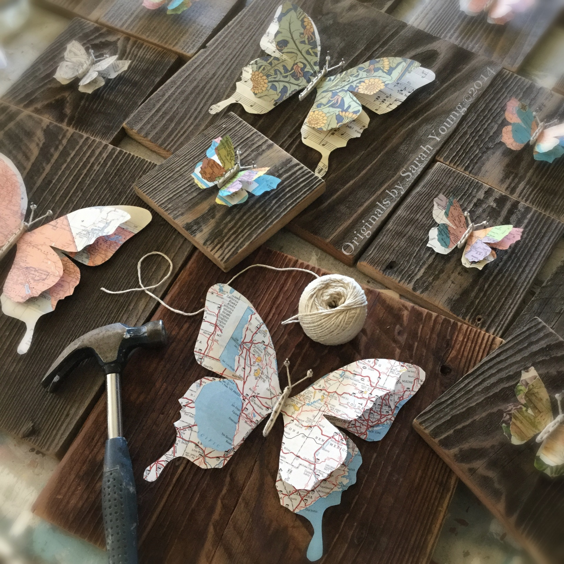 Vintage Map/Paper Butterflies