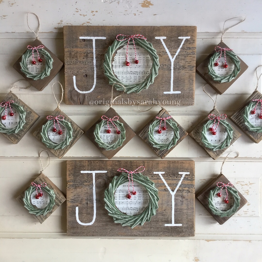 Joy String Wreath and Wreath Ornaments with Hymn Center