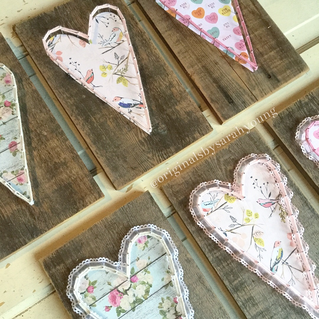 Paper Hearts with String Border