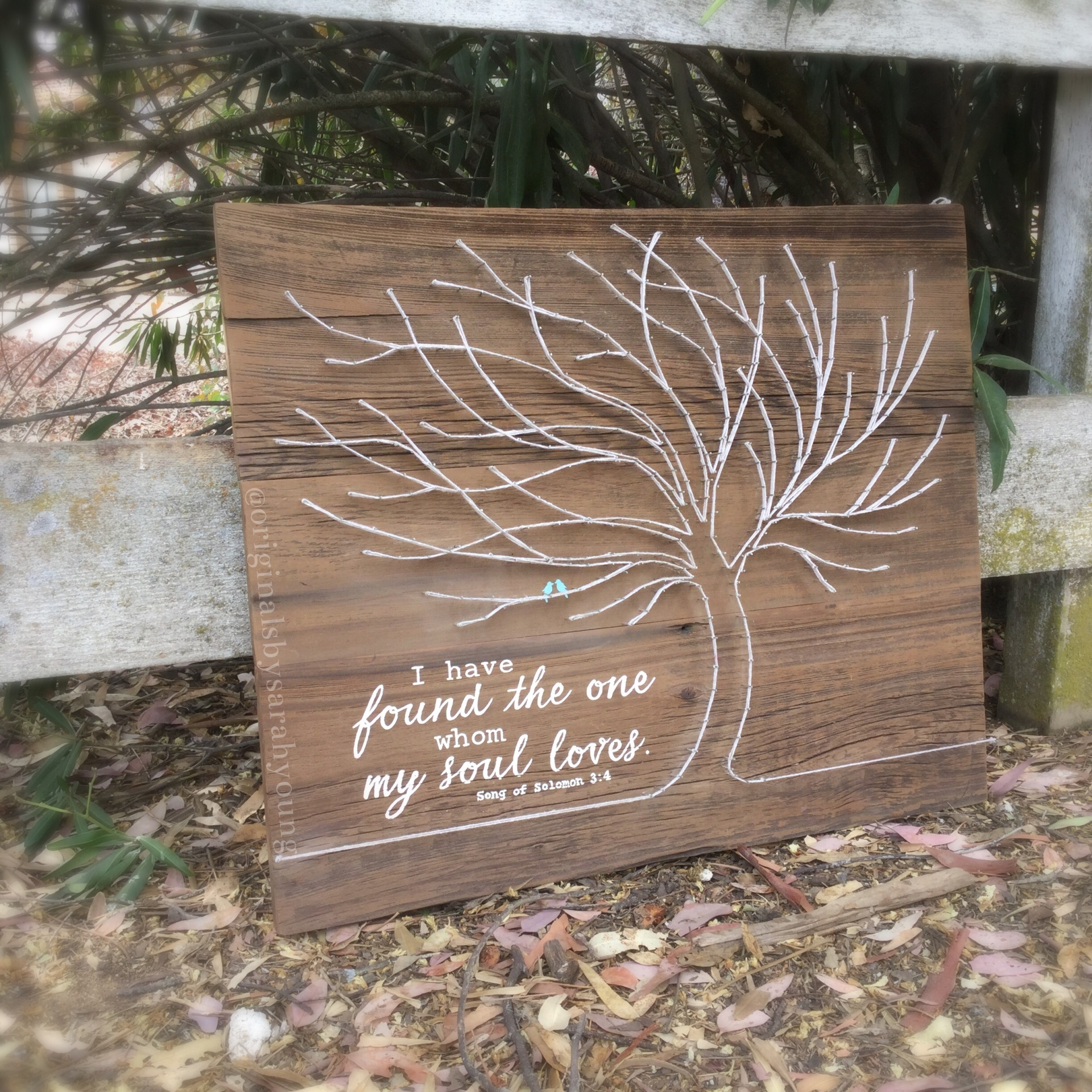 Whimsical String Tree with Hand-Painted Verse