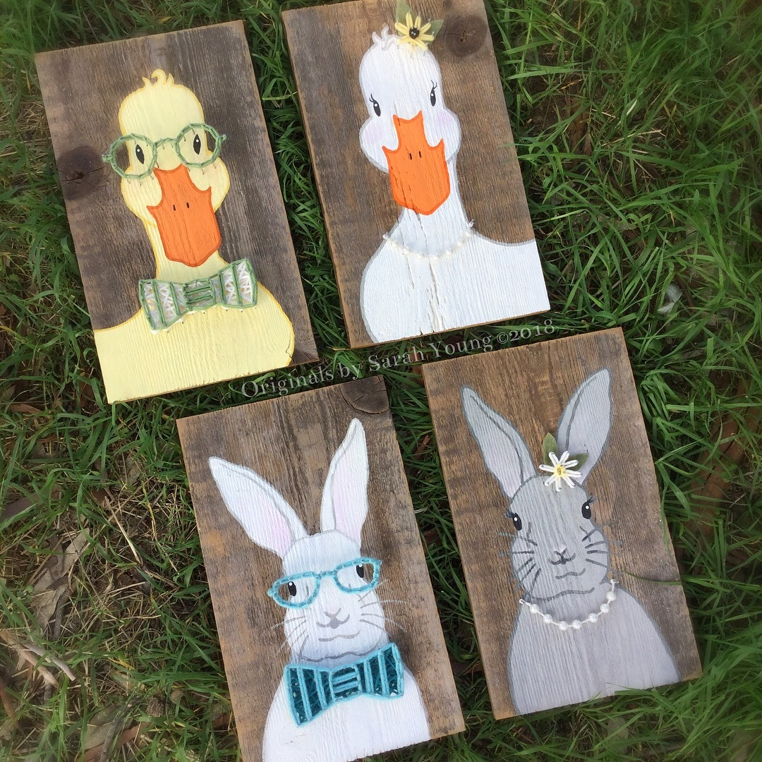 Hand-Painted Spring Duck and Bunnies with String accents