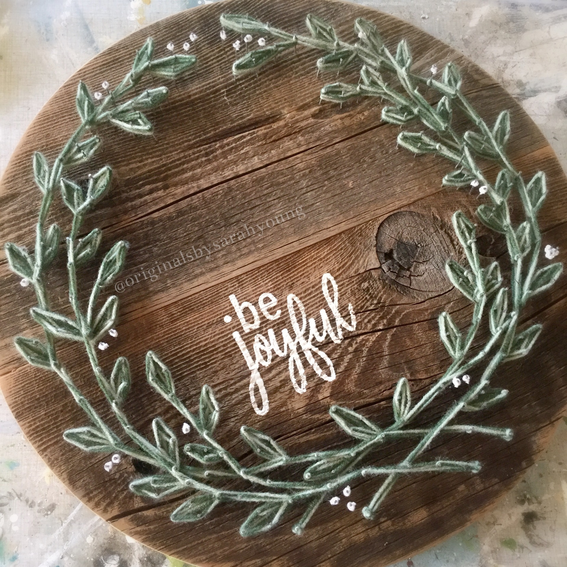 String Wreath with Painted Words